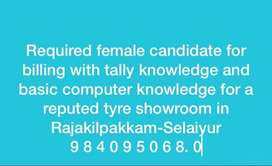 Required female candidate for billing with tally knowledge