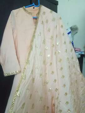Beautiful Light peach colour full layer gown with fully rupatta work