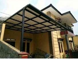 @262 Rangka tunggal kanopi minimalis atap alderon terbaru