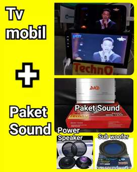 Tv mobil doubledin bs usb + paket sound speaker harga grosir murah