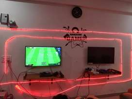 PS4, tv, sofa, games, office table and chair, inverter.