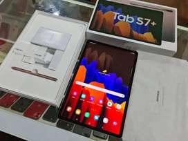 Samsung Tab S7+ 256GB Bronze, Like New, Plastik Body Utuh, Resmi