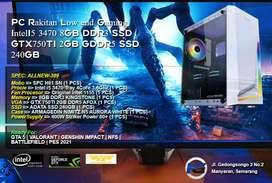 PC Rakitan Gaming IntelI5 3470 8GB DDR3 SSD GTX750TI 2GB GDDR5 SSD 240
