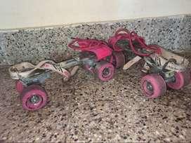 A beginner roller skates