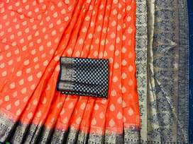 Women's Beautiful Jacquard Weaving Kanchivaram Rich Pallu Saree