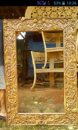 Frem/ pigura ukiran jepara bahan kayu jati perhutani /kwalitas ekspor