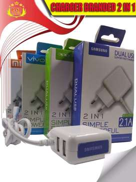 CHARGER BRANDED 2 in 1 2.1A FAST CHARGING