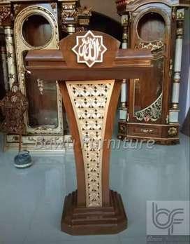 Mimbar Masjid Stainless Podium Presiden Jati