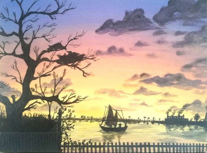 """Painting of sunset """"Life goes on"""" 0"""