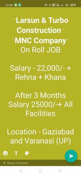 Supervisor Job In MNC Construction Company
