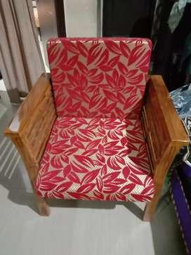 Wooden sofa set red velvet colour