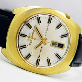 Technos Skysonic Day Date Gold Plated Vintage Wrist Watch Rolex Omega