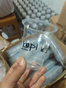 Sablon gelas cup plastik hasil memuaskan terpercaya siap kirim kirim
