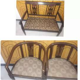 2  wodden chairs with sofa chair