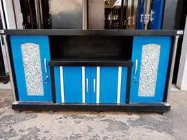 Meja TV murah / Bufet TV pendek murah warna biru bahan triplek tebal
