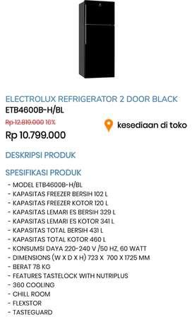 Electrolux Refrigerator 2 door black