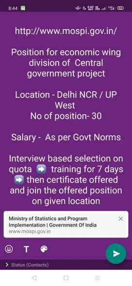 Economic Survey job in UP West for 10th pass salary 18000/-