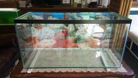 Aquarium ukuran 100x40x50 alas 12mm ddg 5mm