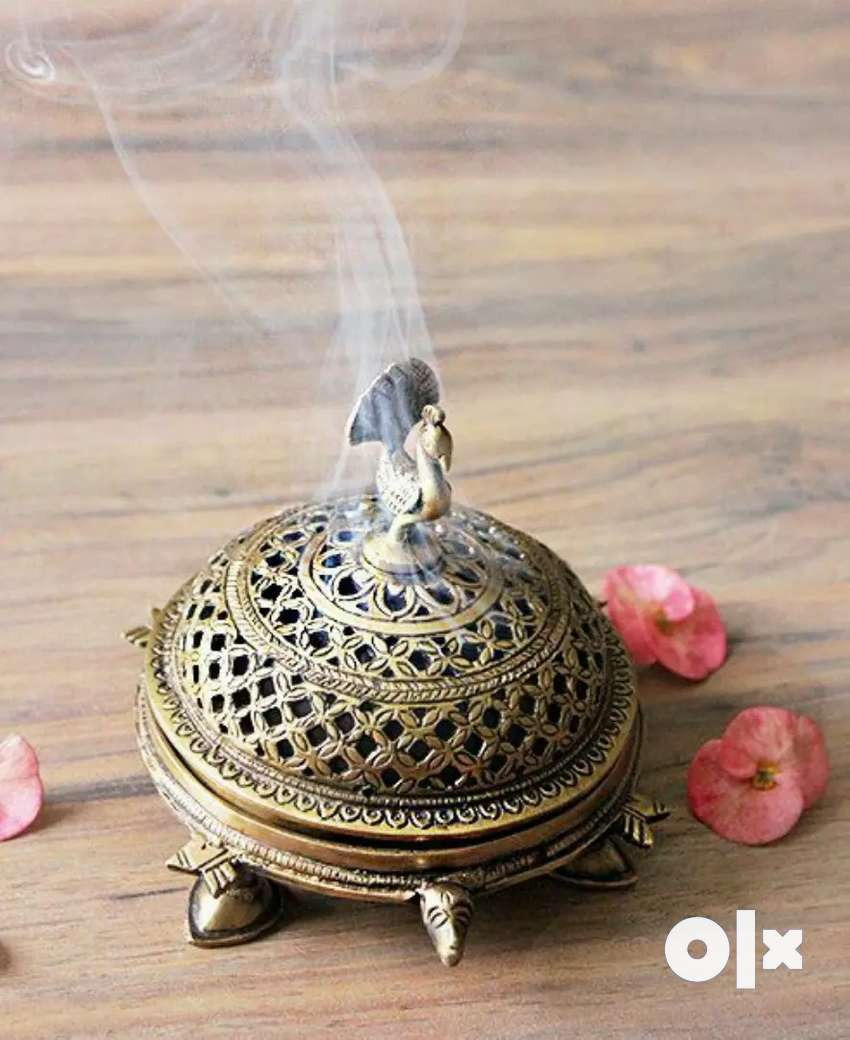 Handcrafted antique Brass Peacock Incense Burner On a tortoise stand 0