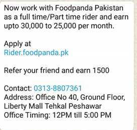 Work with Foodpanda Peshawar as a Rider