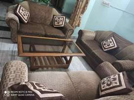 6 Seater Sofa with Toughen Glass Table (Teak Wood)