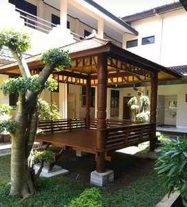 Saung Gazebo kayu kelapa ukuran 3x3m