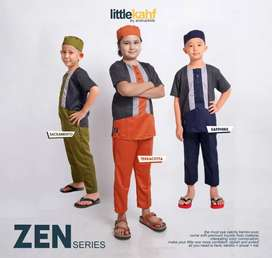 Baju Koko Anak Muslim Setelan Baju Celana Peci Distro Little Kahf