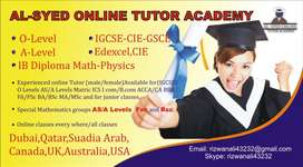 Online Tutors for ( IGCSE) O levels AS/A levels CIE/Edexcel