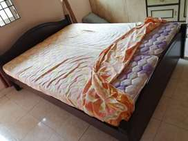 Solid wooden double cot with kurlon mattress (only serious buyers)