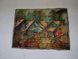 Lukisan Canvas Antik  Motif Pasar Burung Tradisional