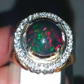 Batu Cincin Kalimaya Black Opal Kembang Jarong Asli (Kode 370)
