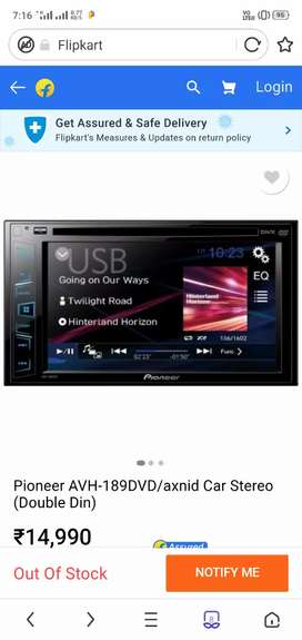 Pioneer double din touch player