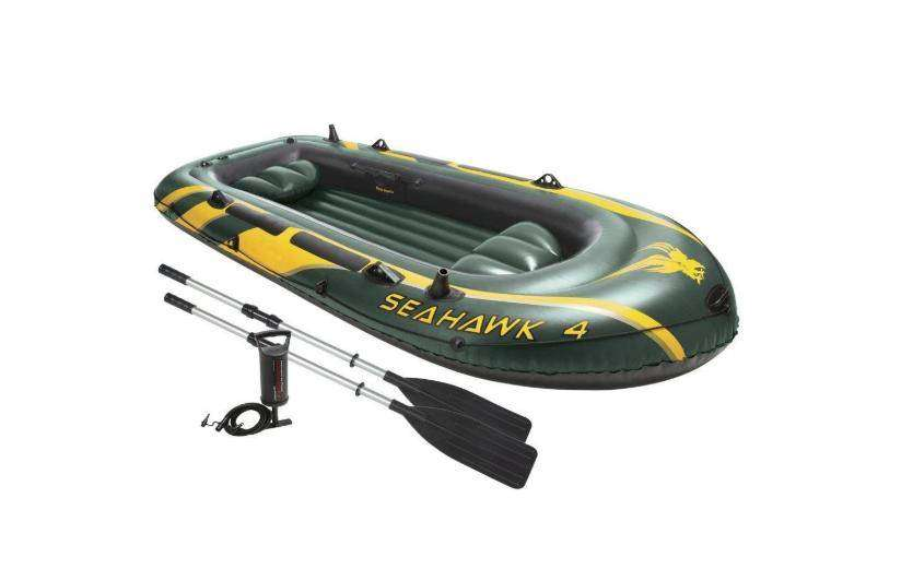 Intex Seahawk 4 Inflatable Boat Set Plus Oars Pump And Motor Mount 0