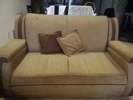 2 x Double Seater Sofas + Glass Table
