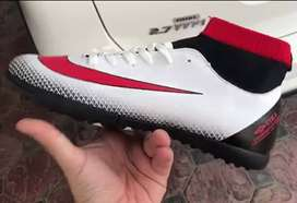 Football Shoes High Ankle White - Black Red