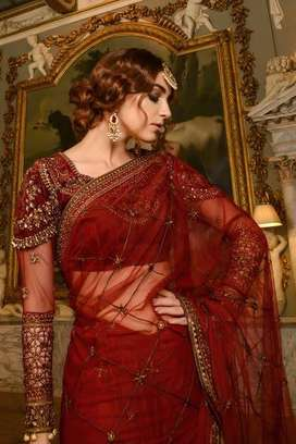 Maria B red saree