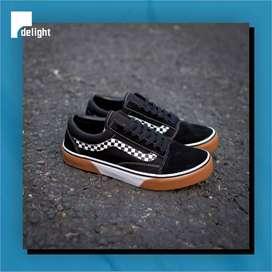 Sepatu Vans Old Skool Checker Black Gum Block Japan Original