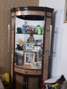 Wooden bar plus show case in good condition