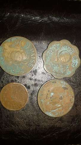 Four old India Coins