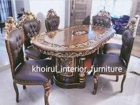 Jual meja makan ukir material kayu jati