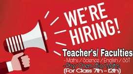Experienced  good Teacher's / Faculties req for coaching in Raipur