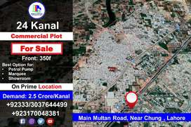 24 Kanal Commercial Property for Sale on Main Multan Road, Near  Chung