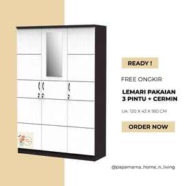 lemari Pakaian 3 pintu Cermin - Lemari baju Arion Series - Medan