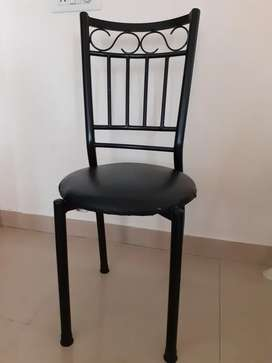 4 Dining Chair ( Black Iron material with Black cushion)