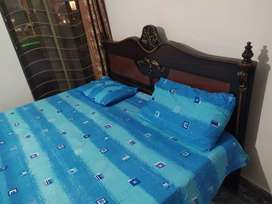 Double bad in low price , urgent sale with mattress & side table