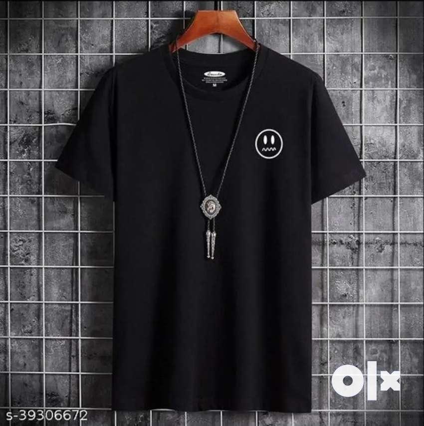Smiley Black Trendy Tshirt for Men and Boys