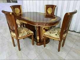 Meja makan Salina gendong ukir material kayu jati ajf50
