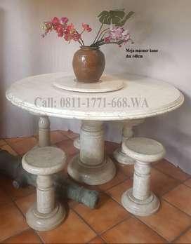 Meja marmer kuno lengkap dengan kursi makan marmer 4pc