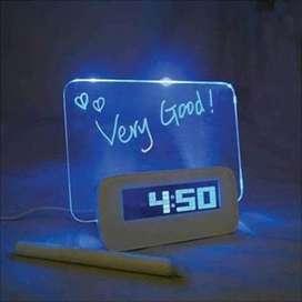 HOUSEEN Jam LCD Display Alarm Clock with Memo Board - 003 - White