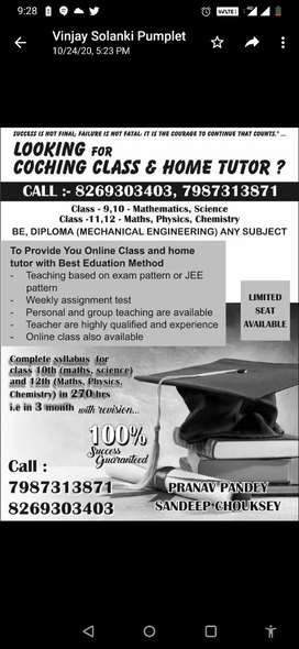 COCHING CLASS AND HOME TUTOR